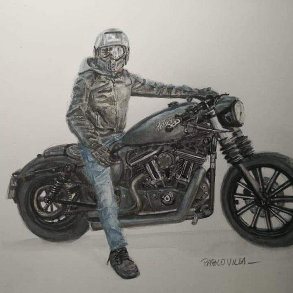 Harley Davidson acuarela