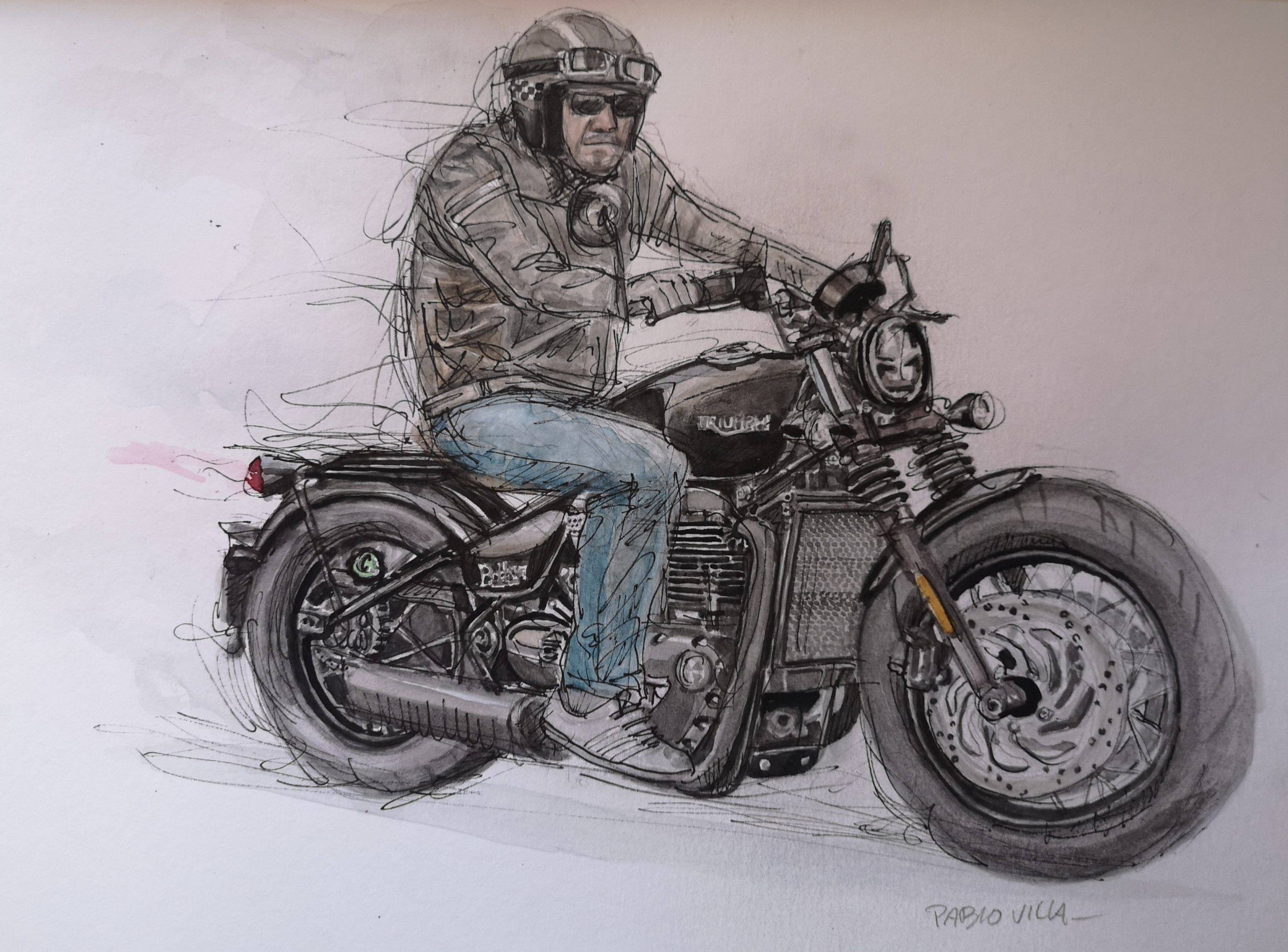 Triumph Bobber Black acuarela watercolor by pablovilla
